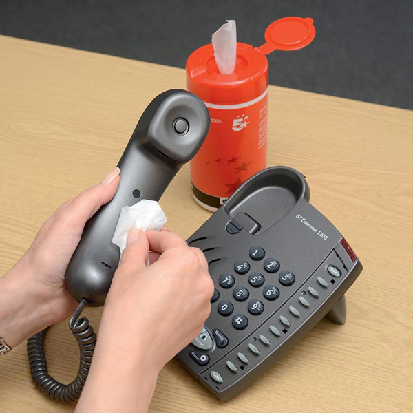 5 Star Telephone Wipes (Tub) - In Use